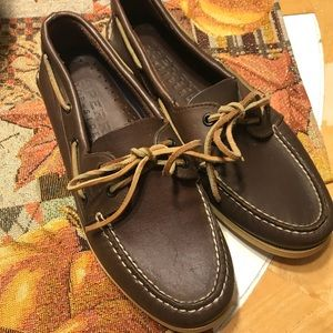 Men's dark leather sperry topsiders